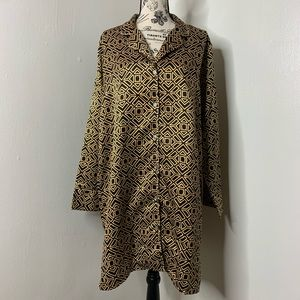 NATORI   Black & Gold Aztec Print Silky Dress